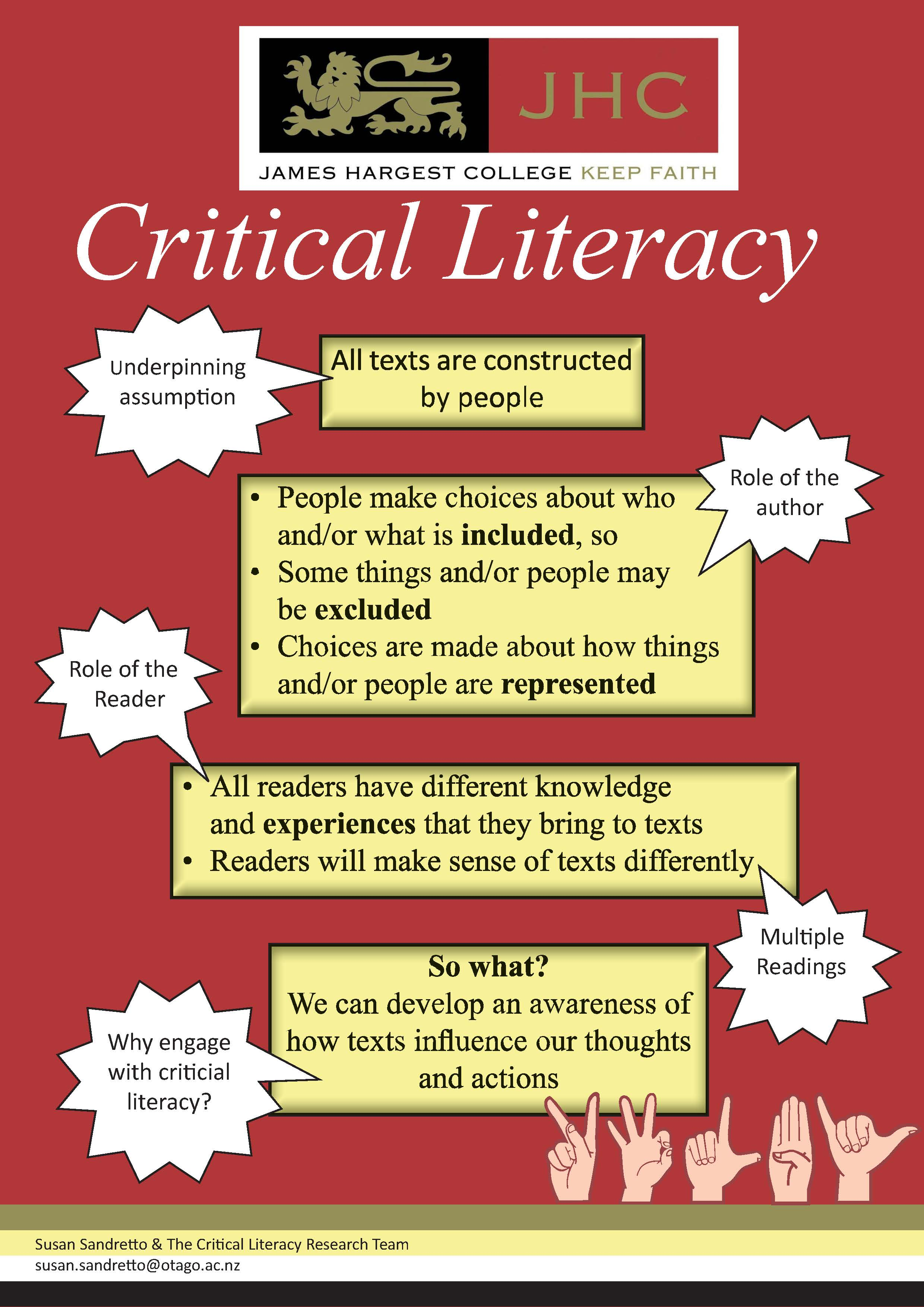 what is critical literacy This is where critical literacy begins, for questioning power relations, discourses, and identities in a world not yet finished, just, or humane we are what we say and do the way we speak and are spoken to help shape us into the people we become.