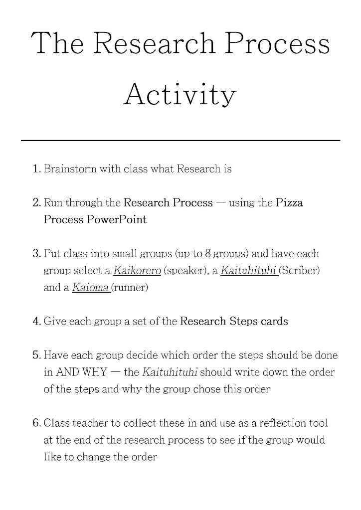 The Research Process Activity
